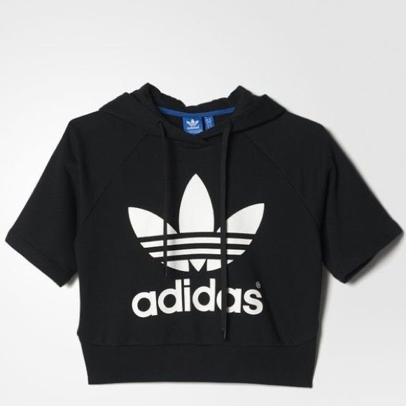 Adidas Graphic Short Sleeved Cropped Hoodie